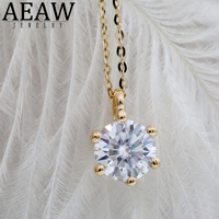 1ct 6.5mm VVS1 DEF Round Cut 18K Yellow White Gold Moissanite Pendant With 18K Gold Chain Necklace For Women in Fine Jewelry