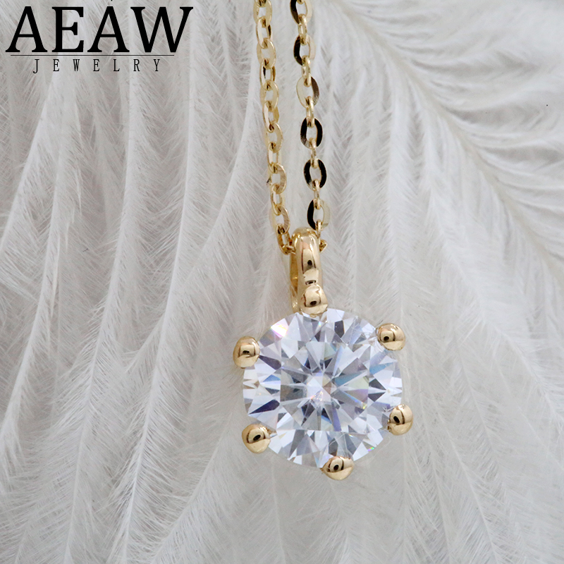 1ct 6.5mm VVS1 DEF Round Cut 18K Yellow White Gold Moissanite Pendant With 18K Gold Chain Necklace For Women in Fine Jewelry image