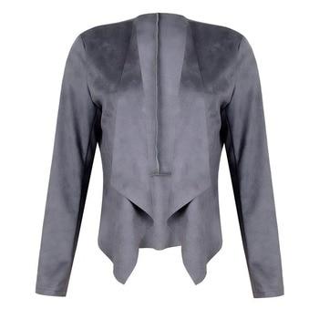 Lapel Solid Color Imitation Deerskin Velvet Midi Women's Short Coat Denim Jacket Women  Leather Jacket