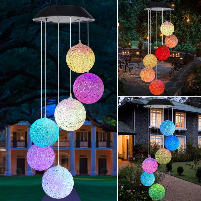 2020 Solar Powered LED Wind Chime Transparent Hummingbird Wind Chime Color-Changing Waterproof Party Patio Yard Garden Decor