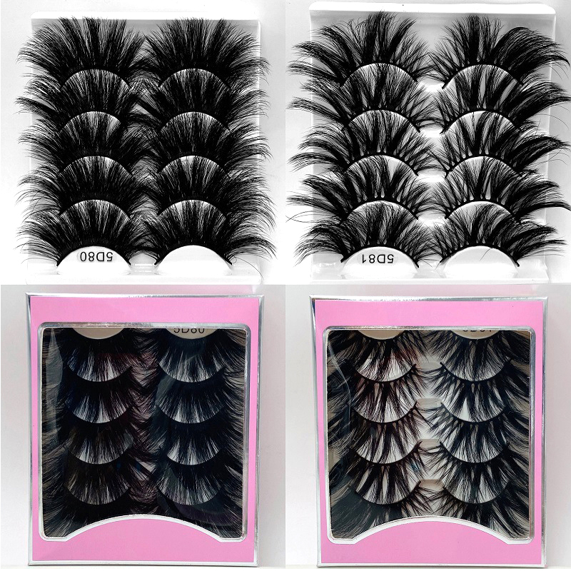 NEW 5Pair Fluffy Lashes 25mm 3d Mink Lashes Long Thick Natural False Eyelashes Lashes Vendors Makeup Mink Eyelashes
