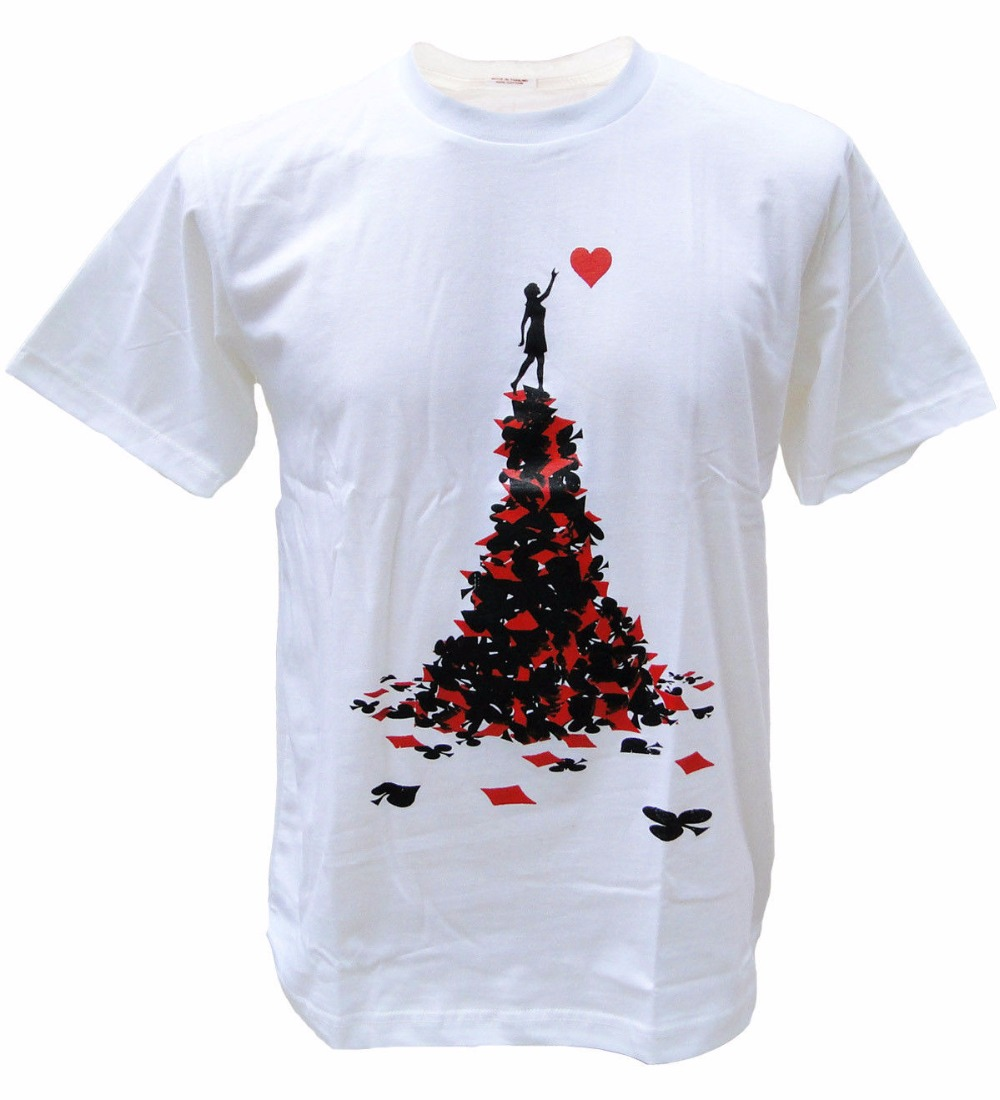 Men 2017 Summer Fashion Heart Love Aces Card Game Novelty Poker Bansky Men T-Shirt Novelty Graphic Baseball Tee Shirts image