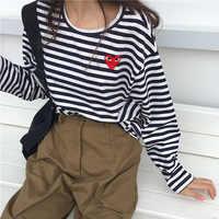 korean autumn Women Casual slim stripe funny t-Shirts Harajuku kawaii O-neck long Sleeve cozy student t shirt Tops Poleras Mujer