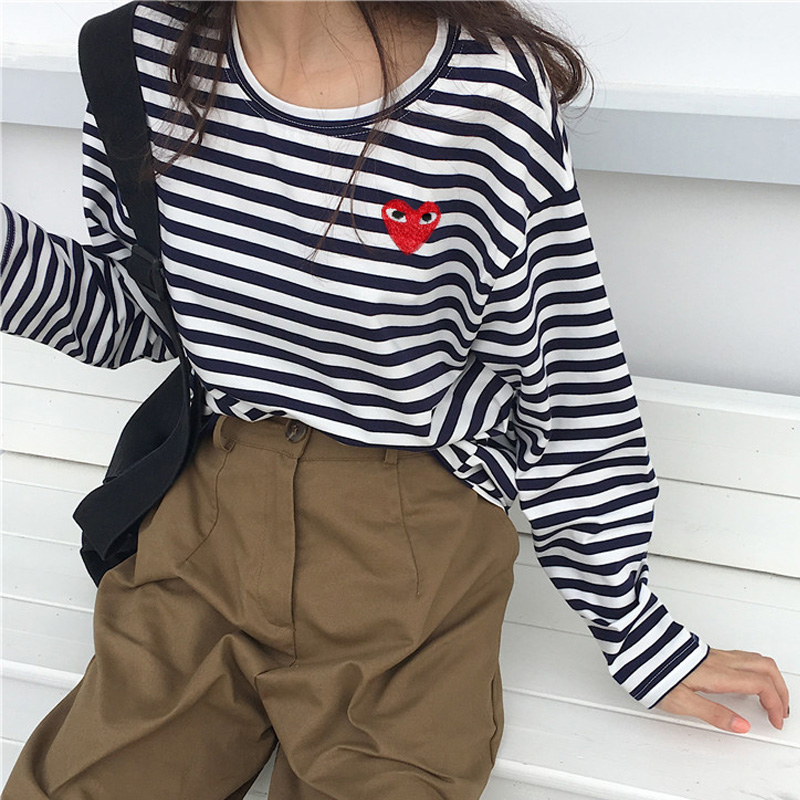 Korean Autumn Women Casual Slim Stripe Funny T-Shirts Harajuku Kawaii O-neck Long Sleeve Cozy Student T Shirt Tops Poleras Mujer