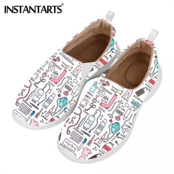 INSTANTARTS-Zapatillas para mujer informales planas de malla ligeras diseño enfermera, deportivas, calzado...