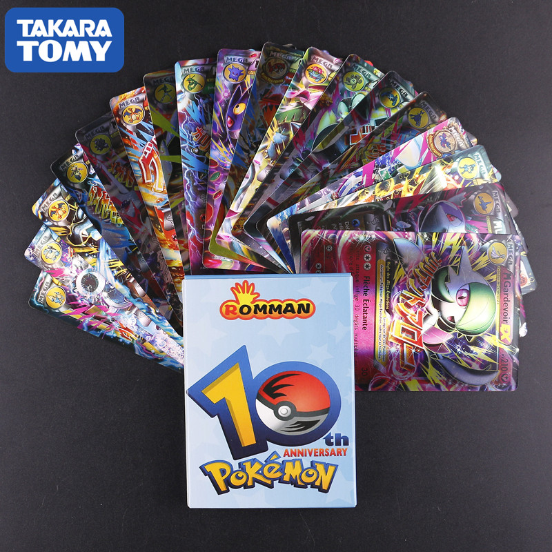 18 PCS TAKARA TOMY No Repeat Pokemon French Card All EX MEGA Shining Pokemon  France Card Game Battle Carte Trading Children Toy