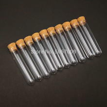 50pcs 12x60mm Lab Clear Plastic test tube with Cork Cap Stopper Round bottom Laboratory or Wedding favours Spice Tube