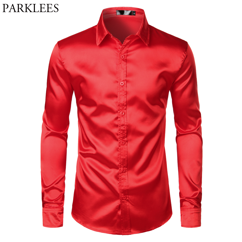 Mens Silk Satin Dress Shirts Casual Wedding Party Dance Long Sleeve Shirt Men Regular Fit Wrinkle Free Tuxedo Shirt Male Chemise