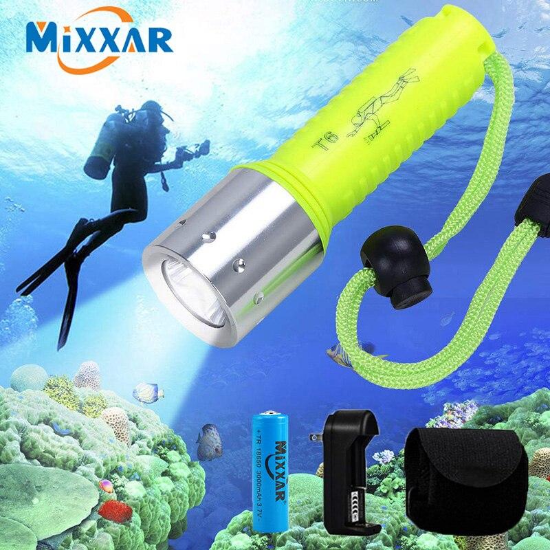 ZK20 Dropshipping New Mini Q5 Waterproof Diver Flashlight/Torch Lights Portable Underwater LED Diving Flashlight Lantern