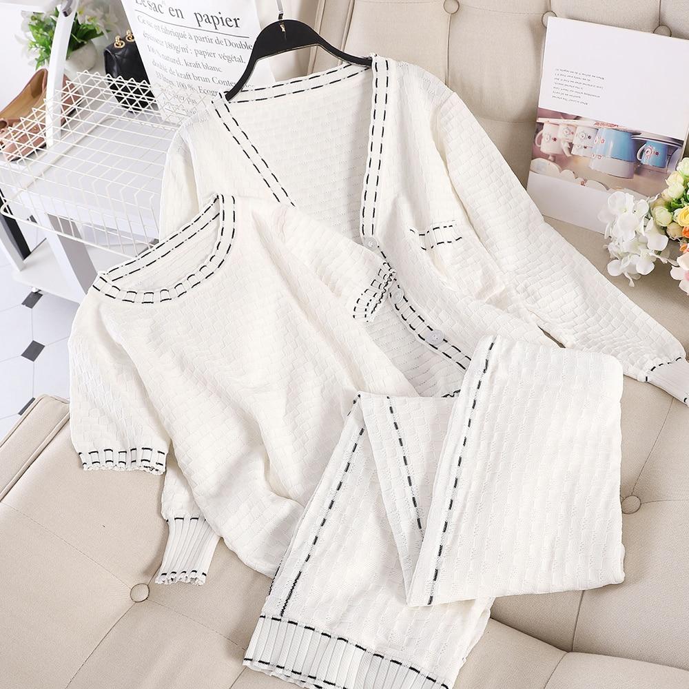 Fashion Suit Female 2019 New Small Fragrance Three-piece Knit Cardigan + T-shirt + Wide Leg Pants Long Pants