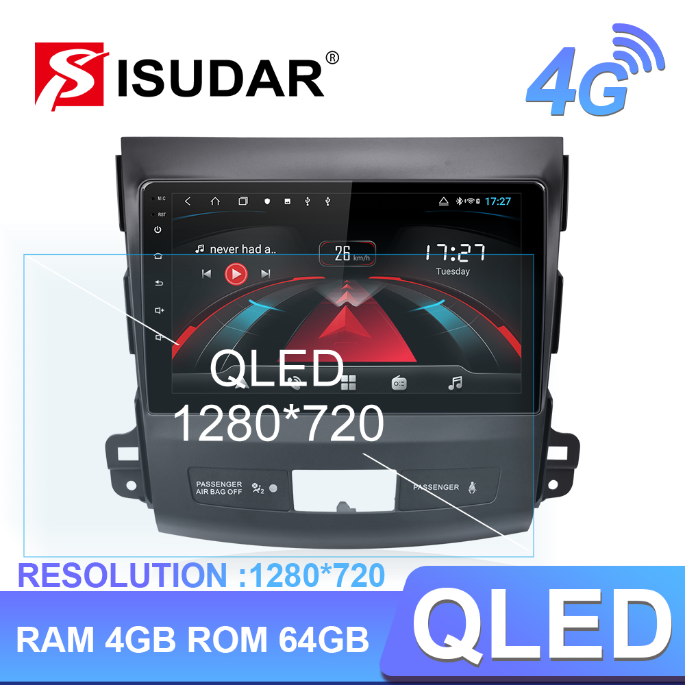 Isudar H53 4G <font><b>Android</b></font> 1 Din Auto Radio For <font><b>Mitsubishi</b></font> <font><b>Outlander</b></font> 2 2005-2011 Car Multimedia GPS 8 Core RAM 4GB Camera DVR IPS DSP image