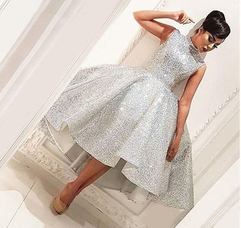 Fashion High Neck Short Prom Dresses 2019 Silver Sleeveless Knee Length Ball Gown Knee Length Formal Party Gown vestido de gala 4
