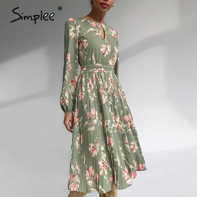 Simplee Elegant floral print long dress women round neck long sleeve ruffled holiday dress middle waist autumn winter dresses 1
