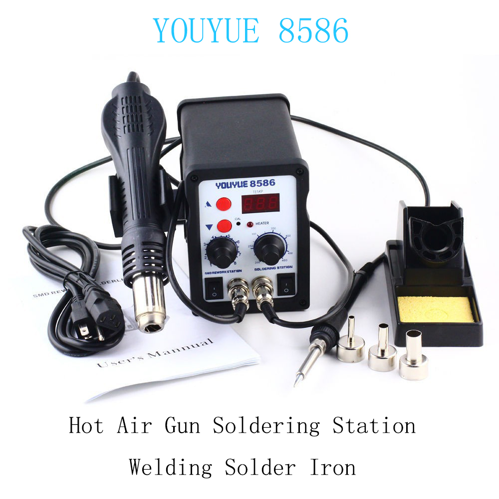 UYUE 8586 2 In 1 ESD Hot Air Gun Soldering Station Welding Solder Iron For IC SMD With Hot Air Gun Nozzles YOUYUE 8586