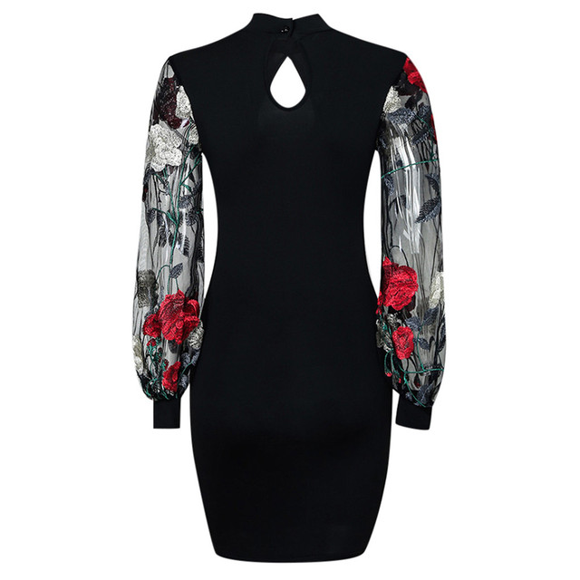 Sheer Wrap Work Dress Women Vestidos Sexy Long Sleeve Stripe Mesh Patchwork Bodycon Dress Black Tunic Clothing For Work 4