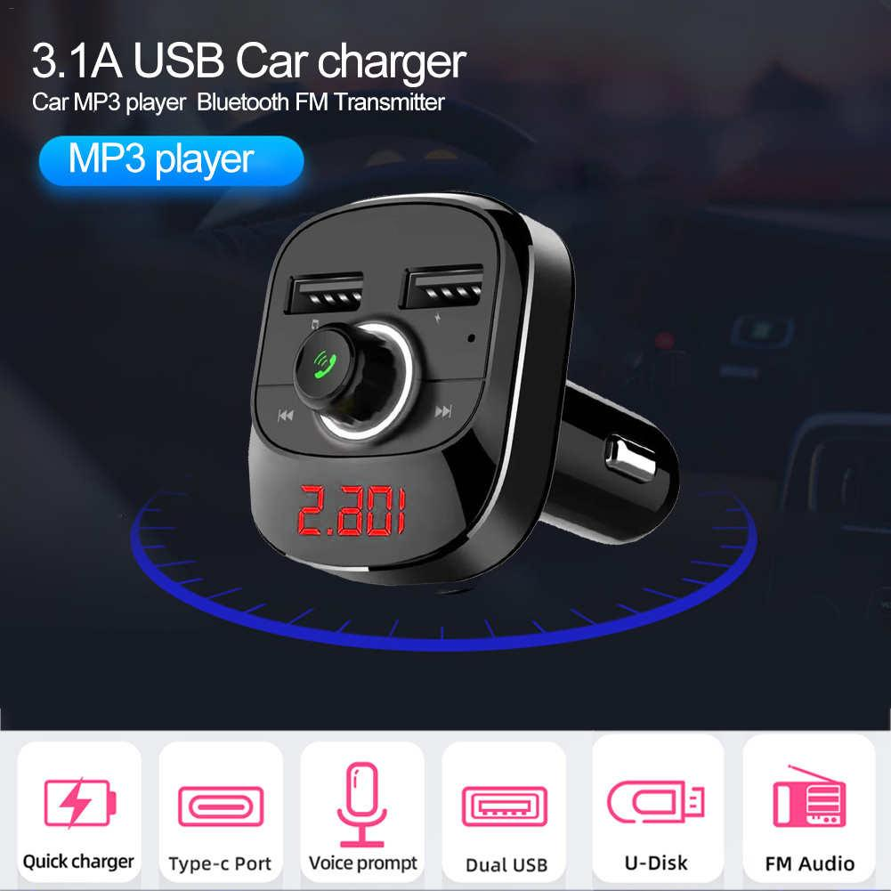Car MP3 Player Bluetooth FM Transmitter Kit Hands-Free 3.1A Dual USB Car  Charger