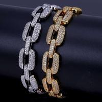 15m HipHop Gold/Silver Color Iced Out Micro Pave CZ Stone Bracelet Copper Cuban Chain Link Bracelets 20.5cm friendship bracelets