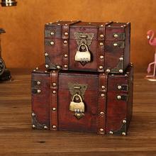 Vintage Cofre del Tesoro joyería de madera baratija caja de almacenamiento titular de la caja con la cerradura