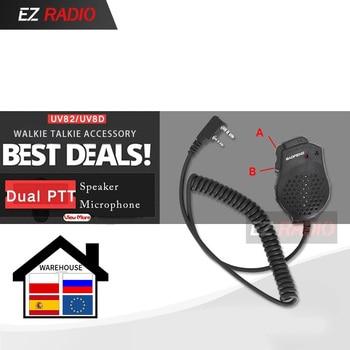Hot Dual PTT Earpiece MIC Speaker UV-82 UV-8 UV82L UV-89 Plus UV-82TP GT-5TP UV-82HP UV-82HX Microphone for Baofeng UV 82 - discount item  45% OFF Walkie Talkie