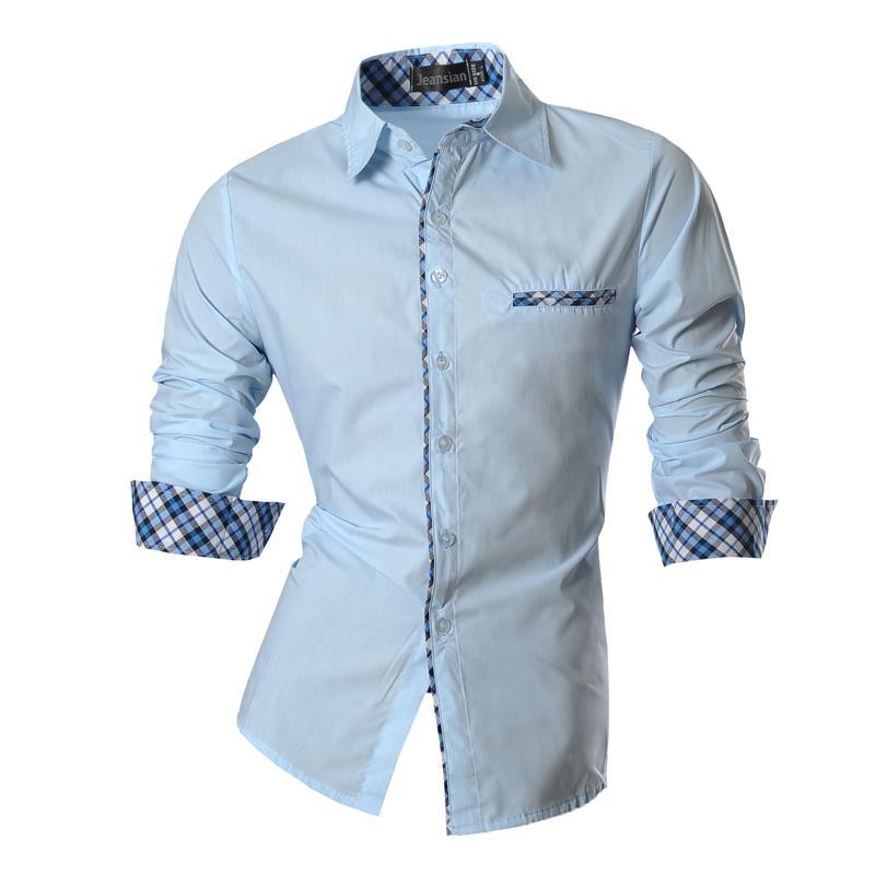 Jeansian Men's Casual Dress Shirts Fashion Desinger Stylish Long Sleeve Slim Fit Z020 LightBlue