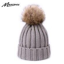 Bonnet en laine tricoté et fausse fourrure | Bonnet d'hiver avec Pompons pour femmes, pour enfants, chapeau en Crochet, casquette pour filles et garçons Gorro Bonne