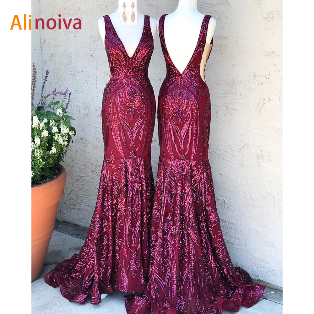 Luxury Sparkly Burgundy Mermaid Prom Dress 2020 Sequined Sleeveless Plus Size V Neck Backless Long Formal Evening Party Gown