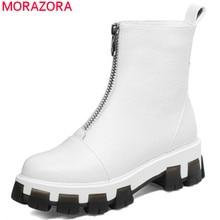 MORAZORA 2020 najnowszy płaski obcas buty damskie buty do kostki ze skóry naturalnej zamek okrągły nosek jesienne buty zimowe kobieta punk buty