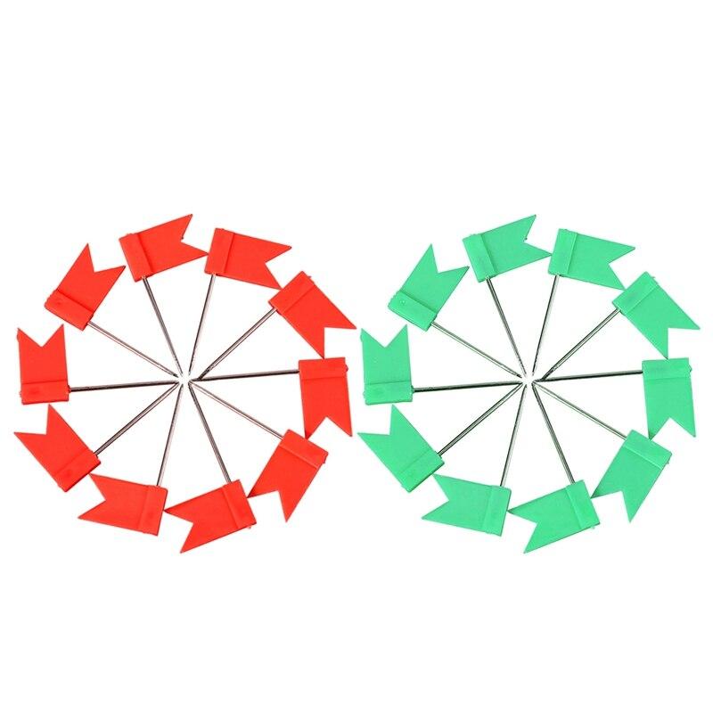 200 Pcs Flag Shaped Map Pins Cork Notice Board Drawing Pins Push Pin , 100 Pcs Red With100 Pcs Green
