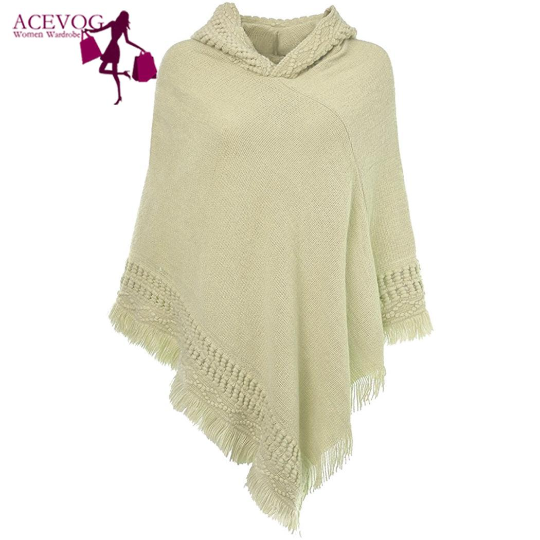 Women Hooded Cape With Fringed Hem Knitting Poncho