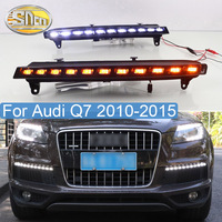 2PCS LED DRL For Audi Q7 2010 2015 Dynamic Yellow Turn Signal Lamp Waterproof LED Daytime Running Light Front Bumper Fog Lamp