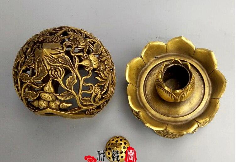 Recueillir l'encensoir en laiton qinglongding ornement décoration de la maison, ameublement de bureau, cendrier sans fret - 4