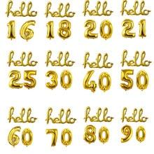 Ouro Prata Olá 18 21 25 30 40 50 Anos Decorações Da Festa de Aniversário 3 Pçs/set Números Da Folha De Alumínio Balão Feliz Aniversário