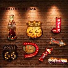 Letreros de neón con luz LED de 20 estilos, pintura decorativa retro para bares, restaurantes, cafeterías, carteles publicitarios colgantes de metal