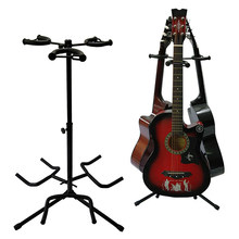 Portable Gitar Profesional Berdiri Hitam Folding Tripod Stand Akustik Klasik Electric Guitar Stand Bass Holder Multifungsi(China)