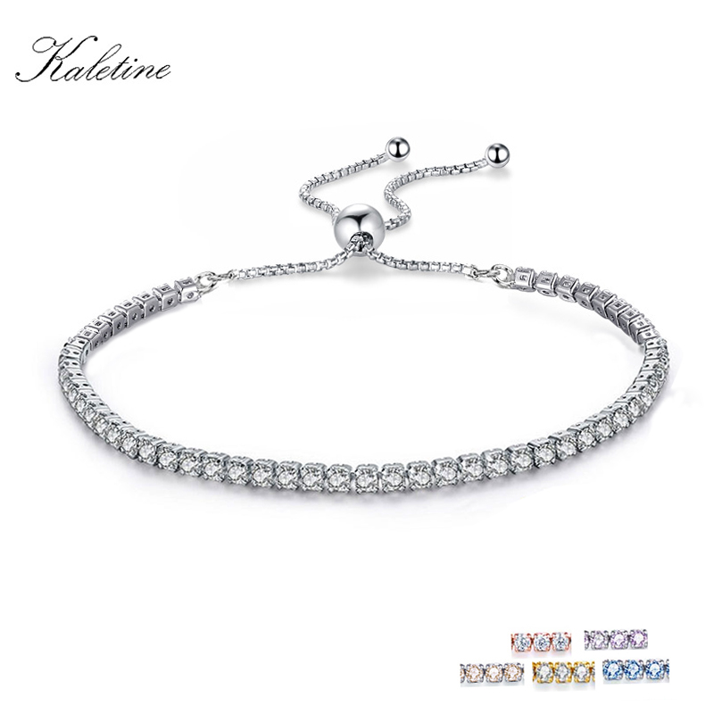 KALETINE Charm Bracelets For Women Real 925 Sterling Silver Bracelet Pink CZ Original Tennis Beads Link Men Jewelry Adjust Chain