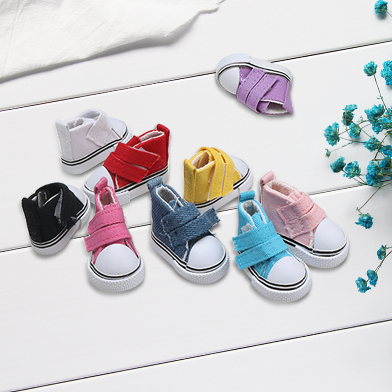 1pc Canvas Doll Shoes Footwear Sports Tennis Shoes Denim Seakers Doll Toy Children Gift Toys 5cm