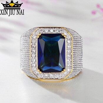 Alta calidad color dorado AAA azul negro rectángulo cristal hombres anillo marca fiesta joyería lujosa y exagerada señora Accesorios