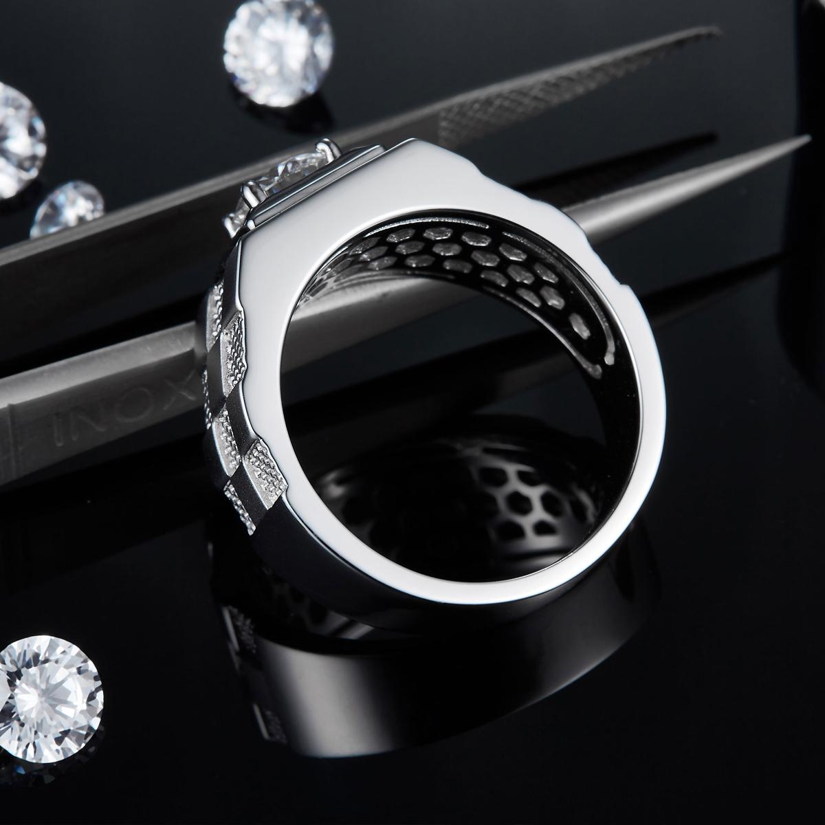 Мужское кольцо с муассанитом 65 карата мм