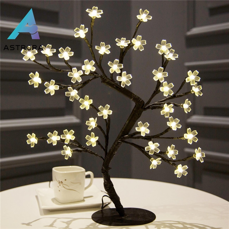 ASTRORA LED Cherry Blossom Tree Lights Table Lamp Bonsai Light Christmas Wire Tree For Christmas Party