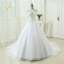 Новое Лучшее качество Vestido De Noiva Robe De Mariage ТРАПЕЦИЕВИДНОЕ свадебное платье из органзы Милое Свадебное платье с оборками 3399260