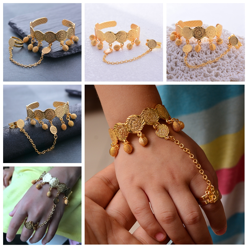 Gold color Coin Bangle For Girl babay Bracelet Islam Muslim Arabic Currency Money Gold Middle East African Jewelry birthday Gift