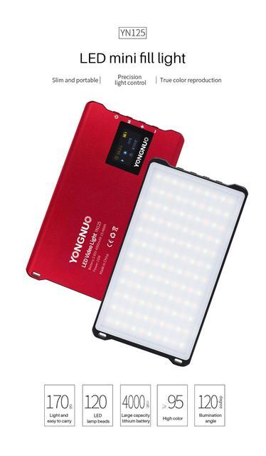 Yongnuo YN125 หลอดไฟ LED Video Light Flash Light Vlog กล้องการถ่ายภาพการบันทึกสำหรับกล้องถ่ายรูปกล้อง DSLR อุปกรณ์เสริม