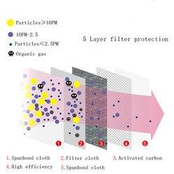 Kpop bawełniane maski przeciwkurzowe maska ochronna na twarz koreański Unisex maska z filtr węglowy maski KN95 anti PM2.5 czarna maska mufowa 5