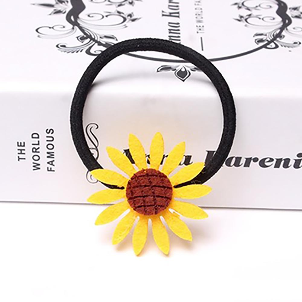Hot Sale Sunflower Elastic Baby Headbands For Girls Handmade Plaid Stereo Lively Baby Hair Clips Hair Accessories Newborn