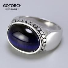 Anneaux en argent pur 925 pour hommes et femmes, bijoux en forme ovale, pierre naturelle, Design Simple, bijou de turquie