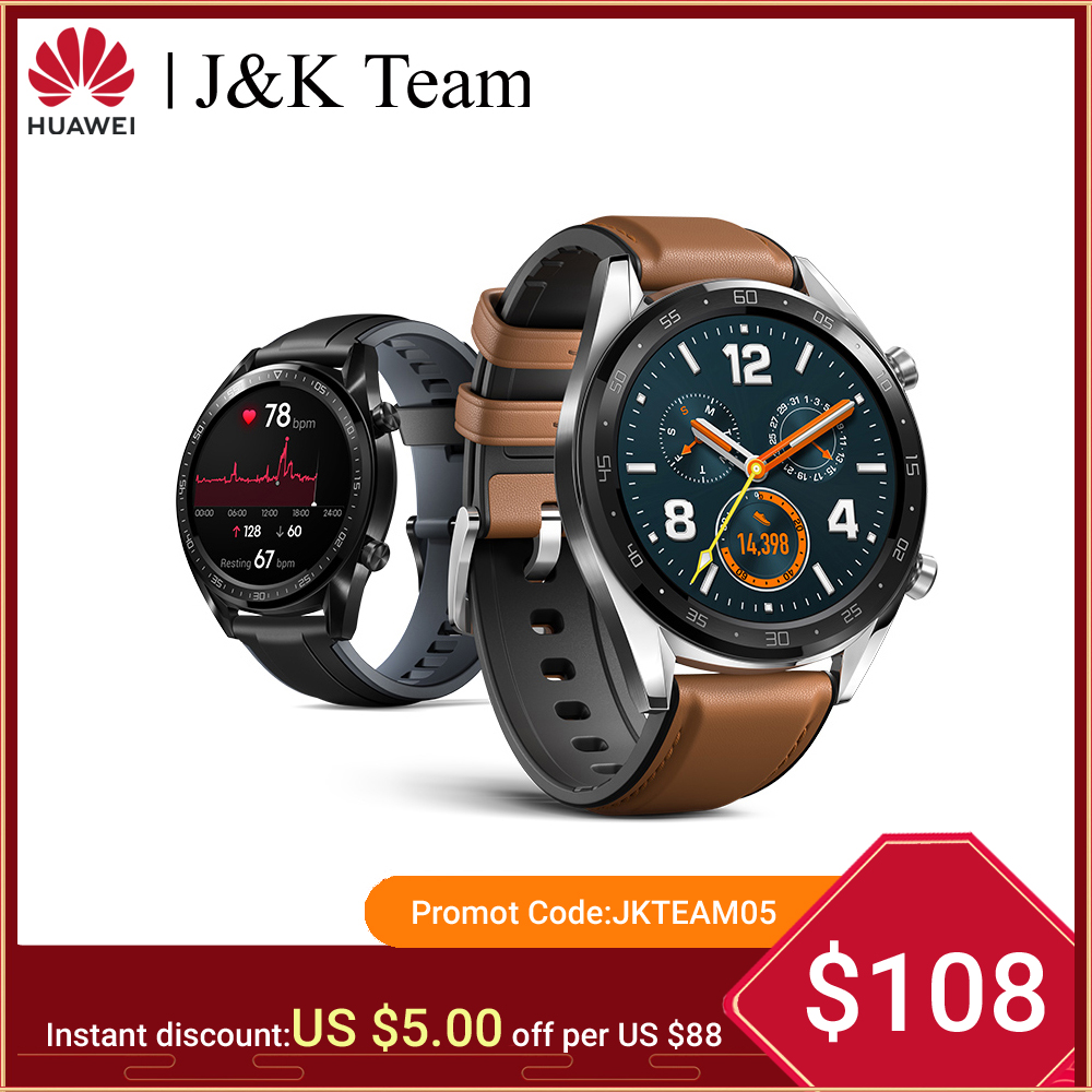 Huawei Watch GT Smart watch Support GPS 14 Days Battery Life 5 ATM water proof Phone Call Heart Rate Tracker For Android iOS-in Smart Watches from Consumer Electronics on AliExpress