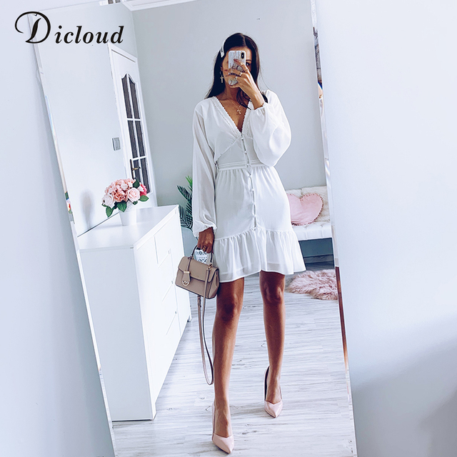 DICLOUD Sexy Plunge V Neck Women's Summer Dress White Lace Long Sleeve Mini Wedding Party Dress Ruffle Elegant Clothes 2021 2