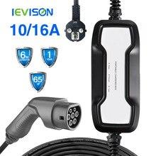 Ievis – boîtier de chargement Portable EVSE de Type 2, câble de 16a, 220 kw, prise SCHUKO, pour véhicule électrique, voiture, IEC 62196-2, 6.5m, 220V