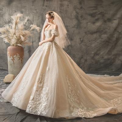Vêtement de mariage principal 2019 nouvelle queue luxe français industrie lourde princesse fée étoile Tremble épaule mariage vêtement mariée Eveni