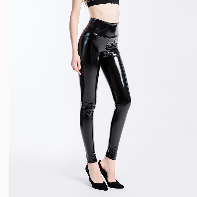 Женские черные леггинсы размера плюс XXXL, сексуальные эластичные облегающие брюки из искусственной кожи с высокой талией, блестящие латексн...